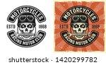 skull of biker in helmet with... | Shutterstock .eps vector #1420299782