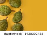 durian  on bright yellow... | Shutterstock . vector #1420302488