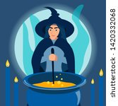 a kind woman witch brews a... | Shutterstock .eps vector #1420332068