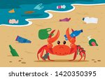 sea crab entangled in plastic... | Shutterstock .eps vector #1420350395