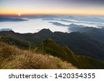beautiful sunrise and mist at... | Shutterstock . vector #1420354355
