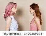 girlfriends look at each other...   Shutterstock . vector #1420369175