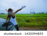 asian women travel relax... | Shutterstock . vector #1420394855