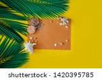 green tropical palm leaves on... | Shutterstock . vector #1420395785