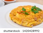 Omelet With Coriander In White...
