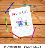 father and son kid greeting... | Shutterstock .eps vector #1420442135
