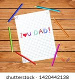 i love you dad kids hand drawn... | Shutterstock .eps vector #1420442138