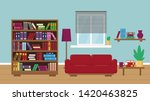 living room with bookcase  sofa ...   Shutterstock .eps vector #1420463825