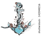 romantic old anchor with roses... | Shutterstock . vector #142048216