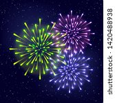 shiny fireworks on starry sky... | Shutterstock .eps vector #1420488938