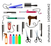 set of combs and hair dryer ... | Shutterstock . vector #1420493642