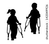 silhouettes of disabled people  ... | Shutterstock .eps vector #142049926