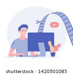 video editor with monitor.... | Shutterstock .eps vector #1420501085