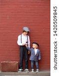 cute child  boy in vintage... | Shutterstock . vector #1420509845