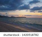 sunset on the tropical beach... | Shutterstock . vector #1420518782