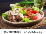 delicious chicken rolls stuffed ... | Shutterstock . vector #1420521782