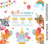 greeting card design with cute... | Shutterstock .eps vector #1420534022
