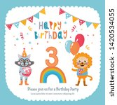 greeting card design with cute... | Shutterstock .eps vector #1420534055