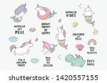 cute magical unicorn  cat  ... | Shutterstock .eps vector #1420557155