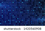 wall of blue cubes and random... | Shutterstock . vector #1420560908