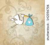 baby shower card   simple... | Shutterstock .eps vector #142056706