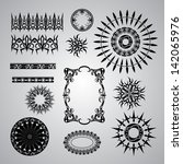 set of black patterns on a gray ... | Shutterstock .eps vector #142065976