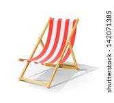wooden beach chaise longue... | Shutterstock .eps vector #142071385