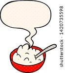 cartoon bowl of porridge with... | Shutterstock .eps vector #1420735598