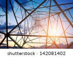 high voltage post.high voltage... | Shutterstock . vector #142081402