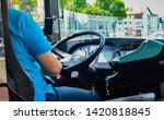 the driver behind the wheel of the bus in Poland - stock photo