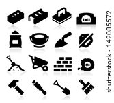 bowel,brick,brick wall,bricklayer,brush,bucket,cement,cement work,chisel,concrete,concrete wall,construction,construction tools,hammer,icon