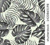 tropical leaves seamless... | Shutterstock . vector #1420865198