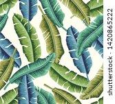 tropical leaves seamless... | Shutterstock . vector #1420865222
