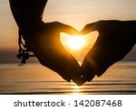 Hand Make Heart With Sunset