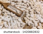 handmade gnocchi  on the table. | Shutterstock . vector #1420882832