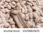 handmade gnocchi  on the table. | Shutterstock . vector #1420882835