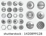 set of realistic metal screw... | Shutterstock .eps vector #1420899128