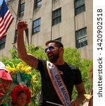 Small photo of New York, New York / USA - 06/09/19 Latin music artist Ricky Martin during 62nd annual Puerto Rican Day Parade in New York City
