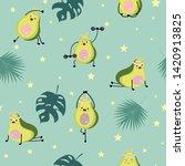Green Avocado Seamless Pattern...