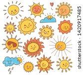 kawaii sun doodle  summer sun... | Shutterstock .eps vector #1420917485