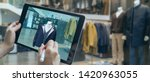 Stock photo augmented mixed virtual reality to design a clothes in d fashion design software program creating 1420963055