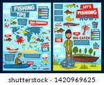 Fishing on world map and fisher equipment infographics. Vector statistics on fish catch, fishery industry diagrams, river perch and pike, ocean seafood crab and shrimp, tuna, trout and salmon tackles