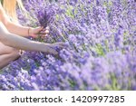 a girl with long hair collects... | Shutterstock . vector #1420997285