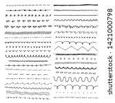 hand drawn doodle lines set.... | Shutterstock .eps vector #1421000798