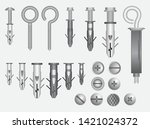 set of realistic metal screw... | Shutterstock .eps vector #1421024372