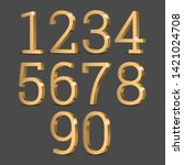 gold 3d numbers. symbol set.... | Shutterstock .eps vector #1421024708