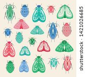 colourful moths and beetles... | Shutterstock .eps vector #1421026685
