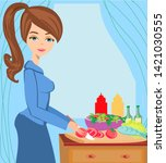 housewife cooking dinner in the ... | Shutterstock . vector #1421030555