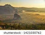 landscape and fog on the hill... | Shutterstock . vector #1421030762