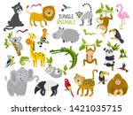 big set of cute animals from... | Shutterstock .eps vector #1421035715